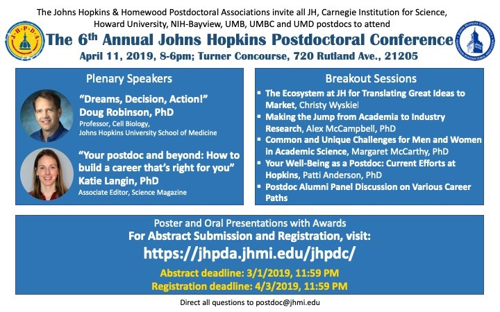 6th Annual Johns Hopkins Postdoctoral Conference, April 11th, 2019, 8am-6pm, Turner Concourse, 720 Rutland Ave. 21205